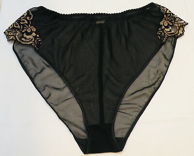 Vintage 1980s Sheer Black High Cut Panties w/ Gold Lace Size  L  New