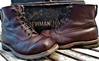 Vintage Swedish army leather field boots Bushcraft size 41 Steampunk Goodwood