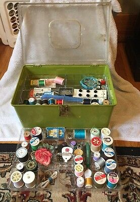 Wilson Wil-Hold Plastic Sewing Box Green 2 trays FULL Of Vintage Stuff Estate