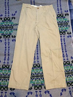 40's Vintage USA Chino Pants Button Fly Khaki Rare D-7411 33x31 Work Military