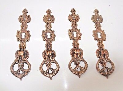 Four Ornate Vintage Brass Dangle Cabinet Knobs Hardware Architectural Salvage
