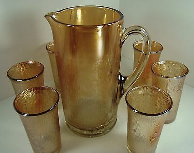 Carnival/Depression Glass Jeannette Marigold Tree Bark Pitcher and 6 Tumblers