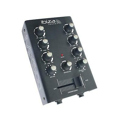 Ultra Portable Ibiza 2 Channel Dj Mixer Hifi Sound Music Party Led