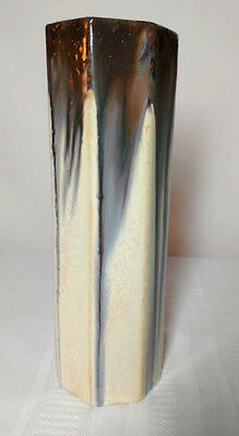 Fulper Pottery, Ivory Flambe', 7 Sided Vase, Early Vase, Very Nice Glaze Runs~~