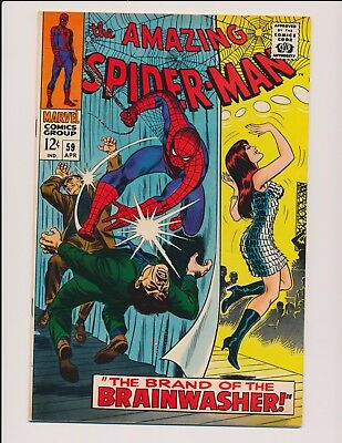 Marvel Comics Amazing Spider-Man #59 1968-1St Brainwsher/mary Jane Cover Vf-Nm