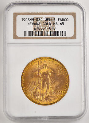 1908 NM $20 Dollar Gold Double Eagle Saint G. NGC - MS 65 (Found in Wells Fargo)
