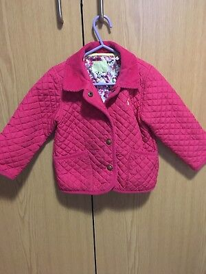 Joules Pink Quilted Coat Jacket Age 2-3 Fab Condition