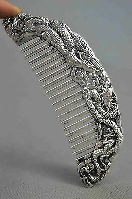 Collection Handmade Old Miao SIlver Carving Dragon & Phoenx Play Bead Lucky Comb