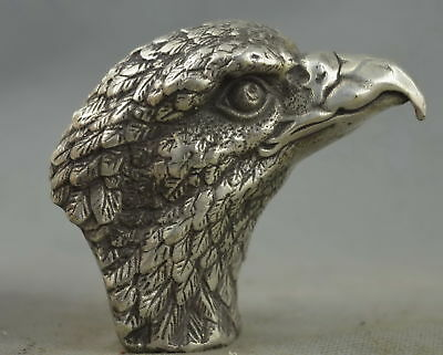 Collectable Handwork Old Miao Silver Carve Hunting Eagle Head Auspicious Statue
