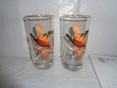 (2) Pheasant / Hunting Birds Drinking Glasses - W/ Gold Rim / Cocktail / Whiskey