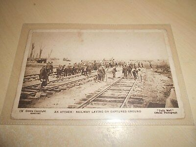 EARLY WW1 DAILY MAIL PC - SERIES 22 No. 174 - AN ATTACK - RAILWAY LAYING