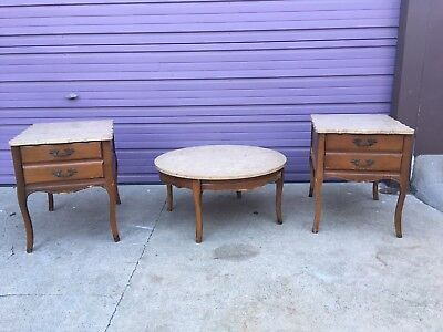 antique coffee table and end tables w/Italian marble