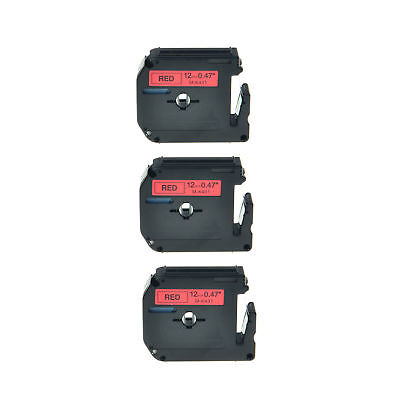 3PK 12mm MK431 M431 M-K431 Black on Red Lable Tape For Brother P-touch85 90 70HK