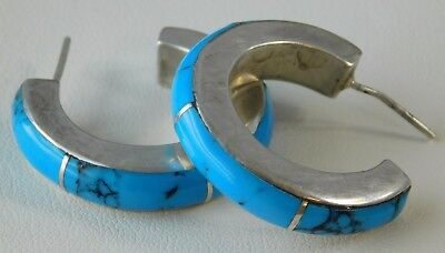 Vtg Sterling Silver Southwestern Style Turquoise Mexico Hoop Earrings