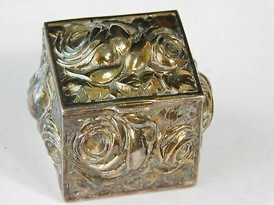 Atq Victorian Repousse Silver Plate Rose Flower Trinket Pill Box