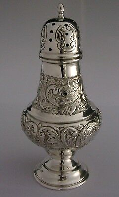 STUNNING ENGLISH STERLING SILVER EMBOSSED SUGAR CASTER / SHAKER 1976 118g MINT