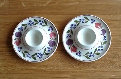 2 x Adams ironstone Old Colonial flat shaped eggcups vgc