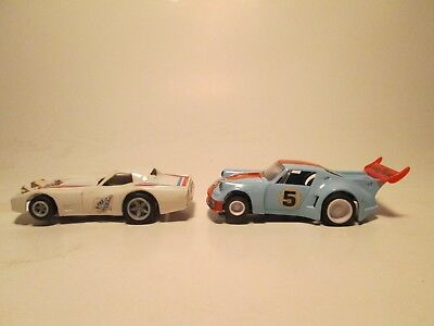 HO MATCHBOX slot cars with lighted running chassis 1-#4 corvette,1-#5 porsche