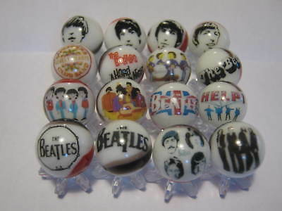 THE BEATLES GLASS MARBLES 5/8 SIZE collection lot + STANDS