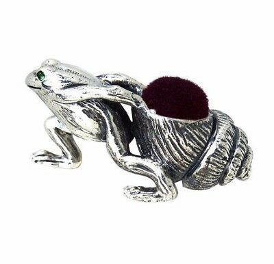 Edwardian Style Frog Pulling Shell Pin Cushion Solid Sterling Silver 925