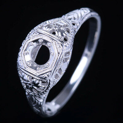 4mm Round Solid 14K White Gold Engagement Wedding Solitaire Fine Ring Setting