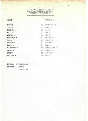 Wolverhampton Wanderers res v Sheffield Wednesday res - 24/01/1990