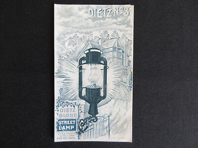 1890 DIETZ No. 3 Globe Street Lamp Advertising Victorian Trade Card RARE