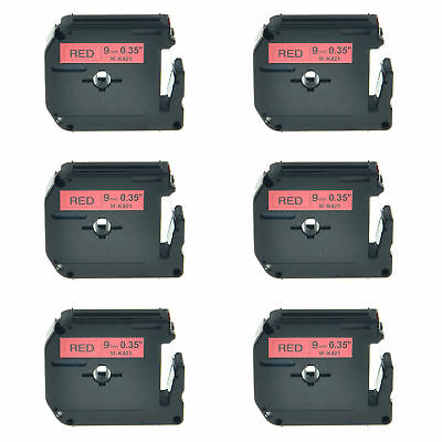 6PK 3/8'' M421 MK421 M-K421 Black on Red Lable Tape For Brother P-touch 70SR