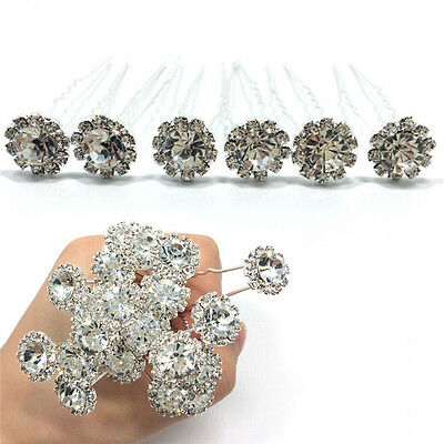 10 Diamante Rhinestones Bridal Wedding Prom Women Hair Pins Clips Fashion FT
