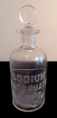 Cir 1879 Whithall & Tatum & Co Apothecary Storage Bottle  Raised Letters Na2HPO4