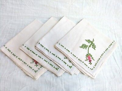 VTG lot of 4 Hand made Linen Embroidery Cloth Placemat Napkins Floral