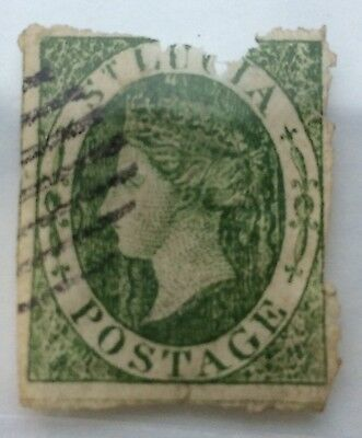 1860 St. Lucia SG3 6d green Stamp