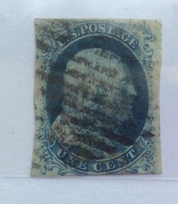1851-57 USA Franklin Imperf 1c 'Ornaments Cut Off' cancelled