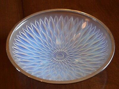 French Opalescent Glass Etling Bowl Sunflower Design Chrome Edged