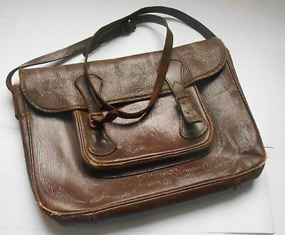 Antique leather school satchel genuine ww2 era 1940s