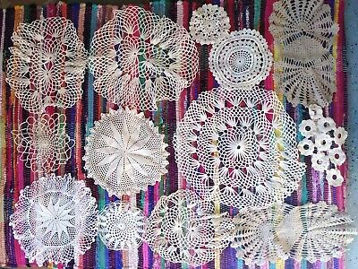 Lot of 13 Vintage Hand Made Crochet Thread Doilies White Tan Off White