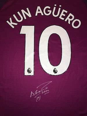 Signed Sergio Kun Aguero Manchester City Away Shirt 17/18 Proof * See Him Sign *