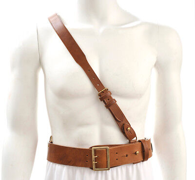 "Sam Browne Belt with Shoulder Strap Brown Leather WW1 will fit 42""- 45"""