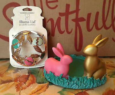 Yankee Candle Bunny Buddies Easter Jar Holder & Eggs/ears Illuma Lid Topper 2016
