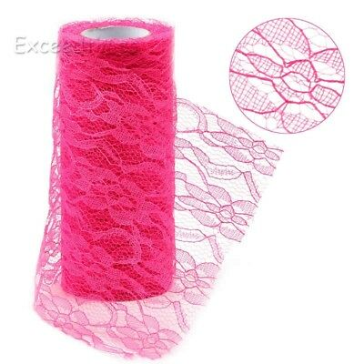 """6"""" 10Yds Vintage Lace Tulle Roll Fuchsia Wedding Bow Chair Sash Floral Craft Dec"""