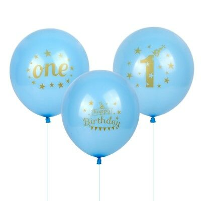 "12"" 12pcs 1st Happy Birthday Latex Balloons Blue Age One Baby Shower Party Decor"