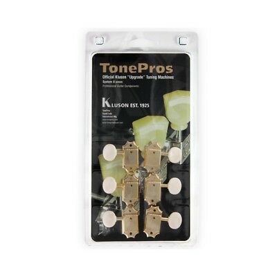 TonePros Kluson 3+3 50s Back Tuners with White Knobs, Gold