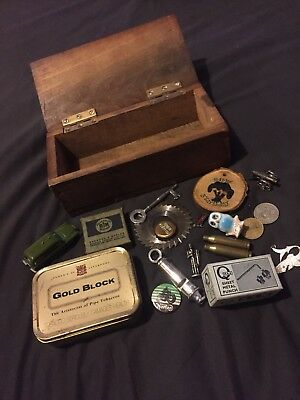 Vintage Collectables curios and box match police whistle tobacco tin