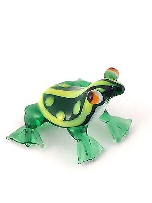 Green & White w/ Orange Eyes Frog Miniature Hand Blown Glass Figurine Amphibian