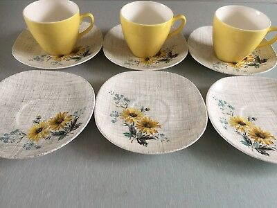 J And G Meakin summertime 6 saucers And 3 teacups.