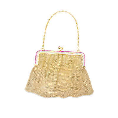 Estate Diamond & Ruby Ladies Gold Purse in 18KT Yellow Gold 3.75 ctw