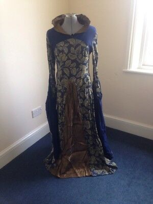 Ex-Hire Blue Gold Medieval Style Dress Costume Evil Queen Pantomime