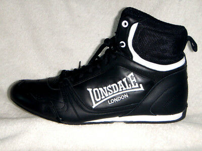 Lonsdale London mens Boxing boots Visually NEW Leather Black/White UK 8 EU42 US9