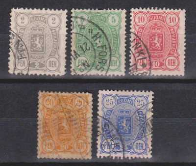 FINLAND 1889 ISSUES x 5 STAMPS M/U