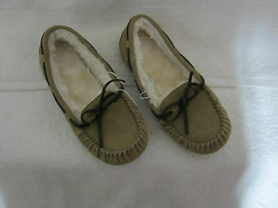 NEW Suede Moccasins, Thermoplastic Rubber Sole, Tan, Womens (Size 7) Free Ship!!